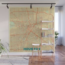 Houston Map Retro Wall Mural
