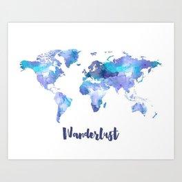 Ultra Violet And Blue Wanderlust Map Art Print