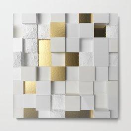 Elegant Cube wall 3D art- white and gold Metal Print