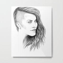 Simone - Original Portrait Drawing Metal Print