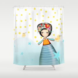 Frida and Ducks Yellow Polka Dots Shower Curtain