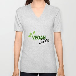 Vegan Life on White Unisex V-Neck