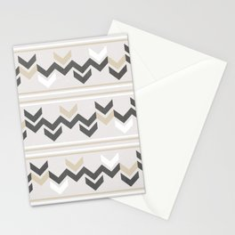 Geometric Arrowhead Charcoal Gold And White Grunge Pattern Stationery Cards