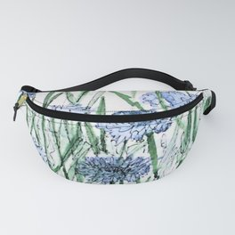 Scabiosis Blue Flowers Floral Watercolor Illustration Fanny Pack
