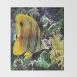 Yellow Longnose Butterfly Fish Throw Blanket