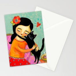 Black Cat Hug sweet painting by artist Tascha Stationery Cards