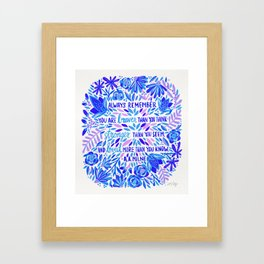 Always Remember – Indigo Palette Framed Art Print