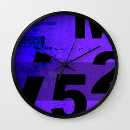 GRUNGE TECHNO V52m Typography | indigo black Wall Clock