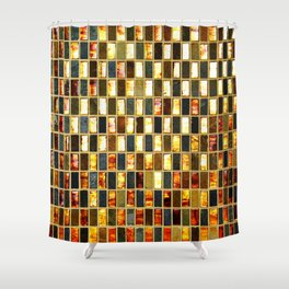 Black Gold Copper Tile Shower Curtain