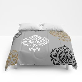 Orna Damask Art I BW Grays Gold Comforters