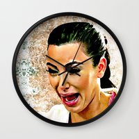 kardashian Wall Clocks featuring Funny Cute Ugly Crying face iPhone 4 4s 5 5c 6, pillow case, mugs and tshirt by Greenlight8