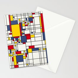 World Map Abstract Mondrian Style Stationery Cards