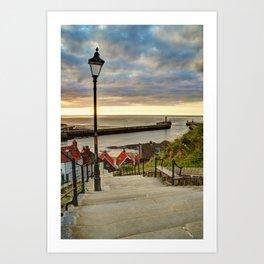 Whitby Sun Set Art Print