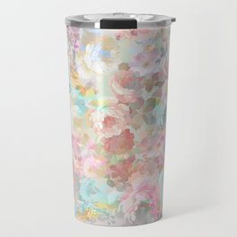 Shabby vintage pink baby blue watercolor floral Travel Mug