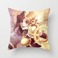 league of legends Throw Pillows featuring League of legends Leona by Rikku Hanari