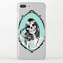 Gothic Skeleton Girl, Acquamarine Mirror Clear iPhone Case