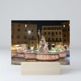 Fountain of Neptune in the Piazza Navona at night - Rome, Italy Mini Art Print