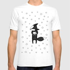 Little Fox And Snowfall SMALL Mens Fitted Tee White