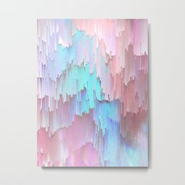 Pastel Glitches Fall Metal Print