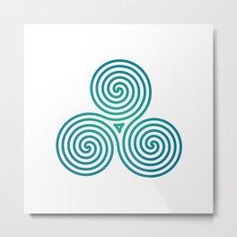 St. Patrick's Day Celtic Blue Triskelion #2 Metal Print
