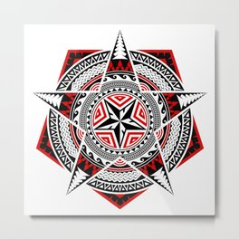 Geometric Shapes, Pentagon, Five Pointed Star And Circles, In Mixed Styles Of Thai Art, Polynesian Art, Mandala Art, Black And Red. Metal Print