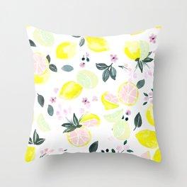 Pink Lemonade Citrus and Flowers Throw Pillow