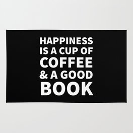 Happiness is a Cup of Coffee & a Good Book (Black) Rug