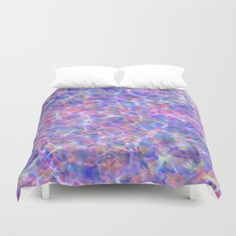 Abstract girly pink blue watercolor hand painted marble Duvet Cover