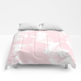 Blush pink white modern watercolor brushstrokes Comforters