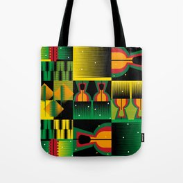 Kente Inspired Comb Illustration Tote Bag
