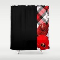 plaid Shower Curtains featuring Plaid+, red by MehrFarbeimLeben