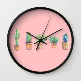 evolution cactus to pineapple pink version Wall Clock