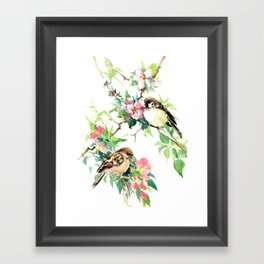 Sparrows and Apple Blossom, spring floral bird art Framed Art Print