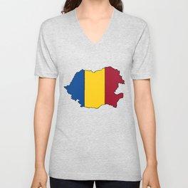 Romania Map with Romanian Flag Unisex V-Neck