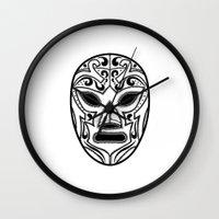 wrestling Wall Clocks featuring Mexican Wrestling Mask by T-SIR   Oscar Postigo