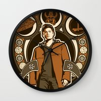 dean winchester Wall Clocks featuring Dean Winchester Nouveau by Tracey Gurney