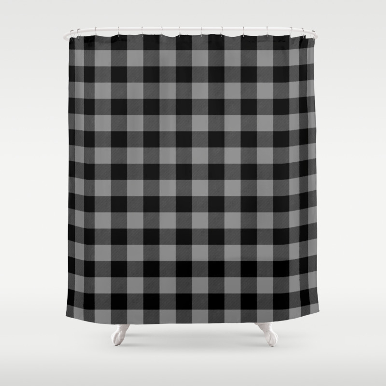 Gray And Black Lumberjack Buffalo Plaid Fabric Shower Curtain