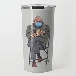 Bernie in Mittens-gray Travel Mug