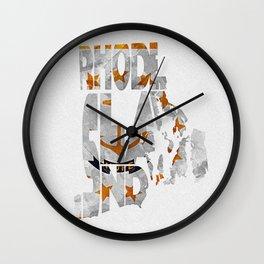 Rhode Island Typographic Flag Map Art Wall Clock
