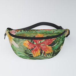 Tropical Vintage Exotic Jungle Flower Flowers - Floral watercolor pattern Fanny Pack