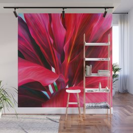 Red Ti Leaf Wall Mural