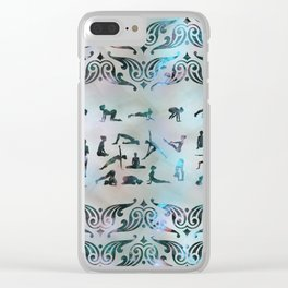 Labradorite Yoga Asanas  on mother of pearl Clear iPhone Case