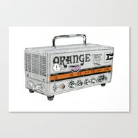 stickers Canvas Prints featuring Orange Terror Bass Amplifier ( with stickers) by NVM Illustration