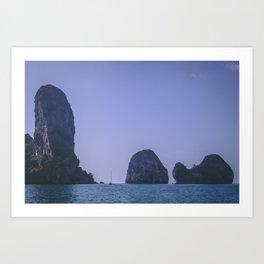 Sailing Between the Rocks Art Print