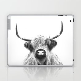 Black and White Highland Cow Portrait Laptop & iPad Skin