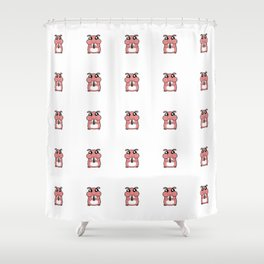 Cute Duotone Hamster Pattern Illustration Shower Curtain