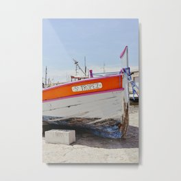 A boat in the harbor of St Tropez, France | South of France Riviera | Yellow colored art print Metal Print