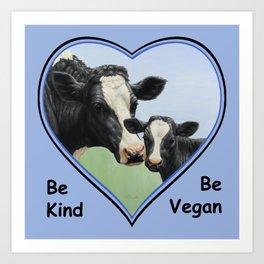 Holstein Cow and Calf Vegan Art Print