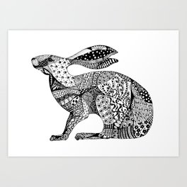 MIllicent The Crouching Hare Art Print