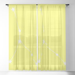 Cancer (White & Light Yellow Sign) Sheer Curtain